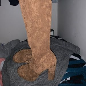 Thigh high brown tan heel boots